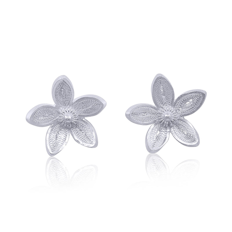 BLOSSOM STUD EARRINGS SILVER - Olmox