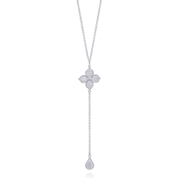 BRENNA NECKLACE LONG SILVER - Olmox