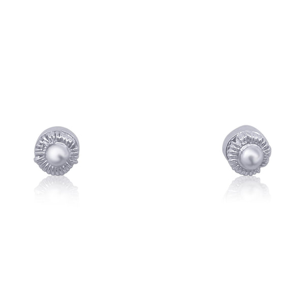 CAMELLIA MINI STUD EARRINGS SILVER - Olmox