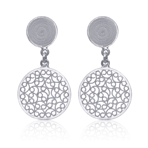 CATALINA MEDIUM EARRINGS SILVER FILIGREE - Olmox