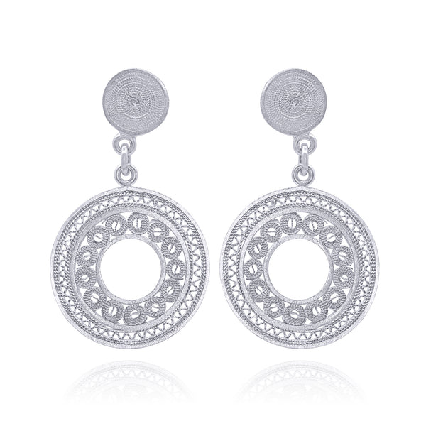 DANIELLE MEDIUM EARRINGS FILIGREE SILVER & GOLD - Olmox