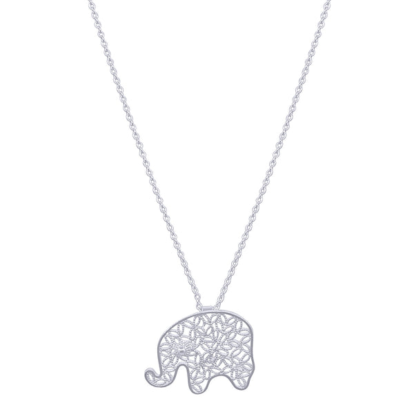 ELEPHANT SMALL PENDANT NECKLACE FILIGREE SILVER & GOLD - Olmox