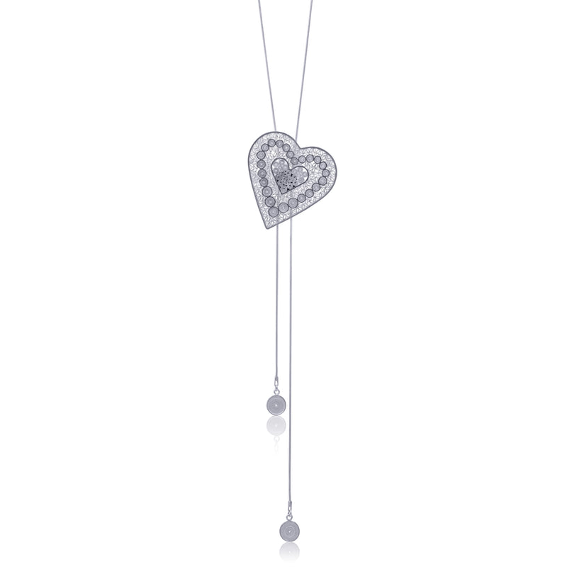 HEART LOVE NECKLACE LONG FILIGREE SILVER & GOLD - Olmox