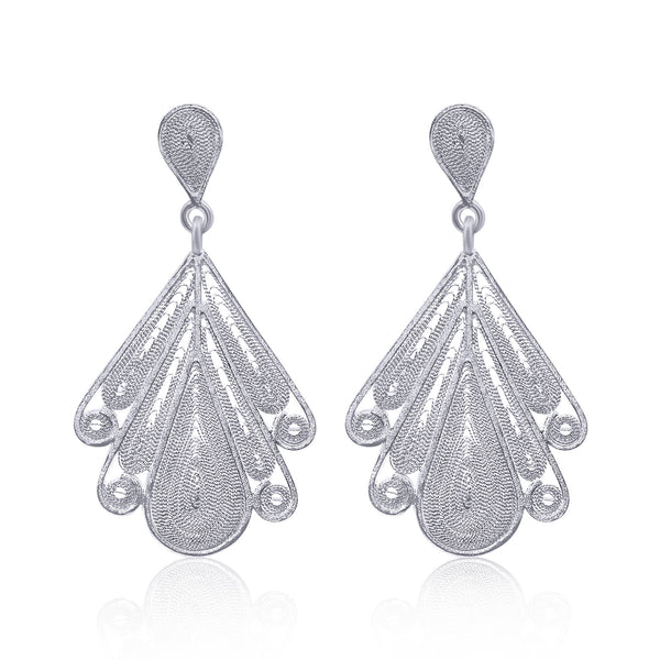 Lilac silver earrings work of art jewelry intricate dainty filigree jewelry