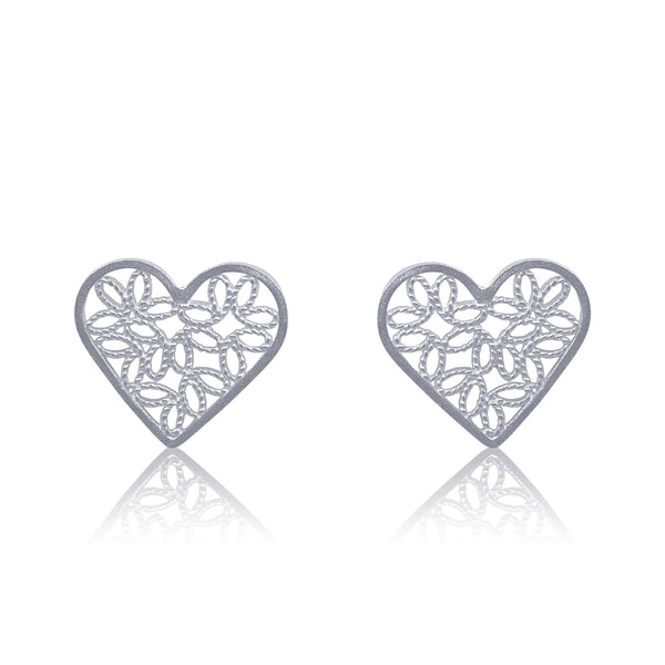 LITTLE HEARTS STUD EARRINGS FILIGREE SILVER GOLD - Olmox