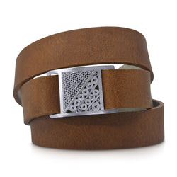 LOURDES LEATHER BRACELET SILVER - Olmox