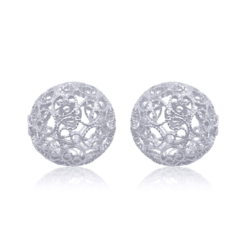 Lucrecia stud earrings silver the spheres dragon balls sterling silver filigree jewelry by olmox handmade