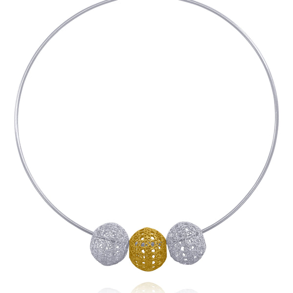 Lucrecia choker silver spheres dual color filigree jewelry handmade silver gold by olmox made in Houston Texas