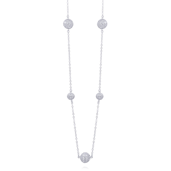 LUCRECIA LONG NECKLACE FIVE SPHERES FILIGREE SILVER & GOLD - Olmox