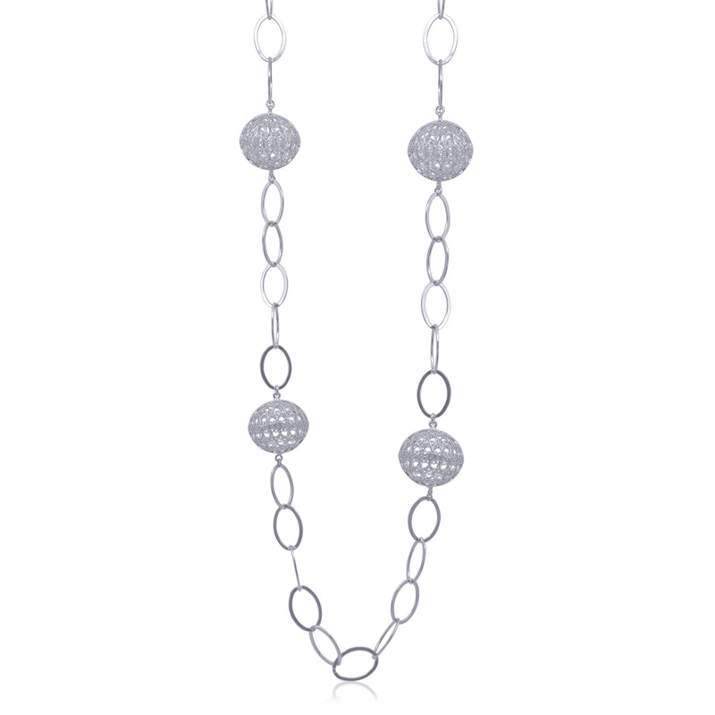 Lucrecia necklace long spheres silver statement Large