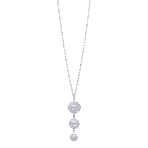 Lucrecia necklace long spheres necklace filigree silver by olmox handmade with love in Houston Texas