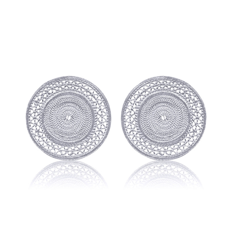 MAGGIE STUD EARRINGS FILIGREE SILVER & GOLD - Olmox