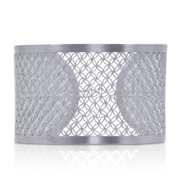 MARA CUFF LEATHER FILIGREE JEWELRY SILVER