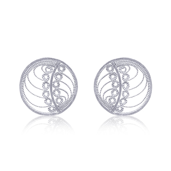 MARGO STUD EARRINGS FILIGREE SILVER & GOLD - Olmox