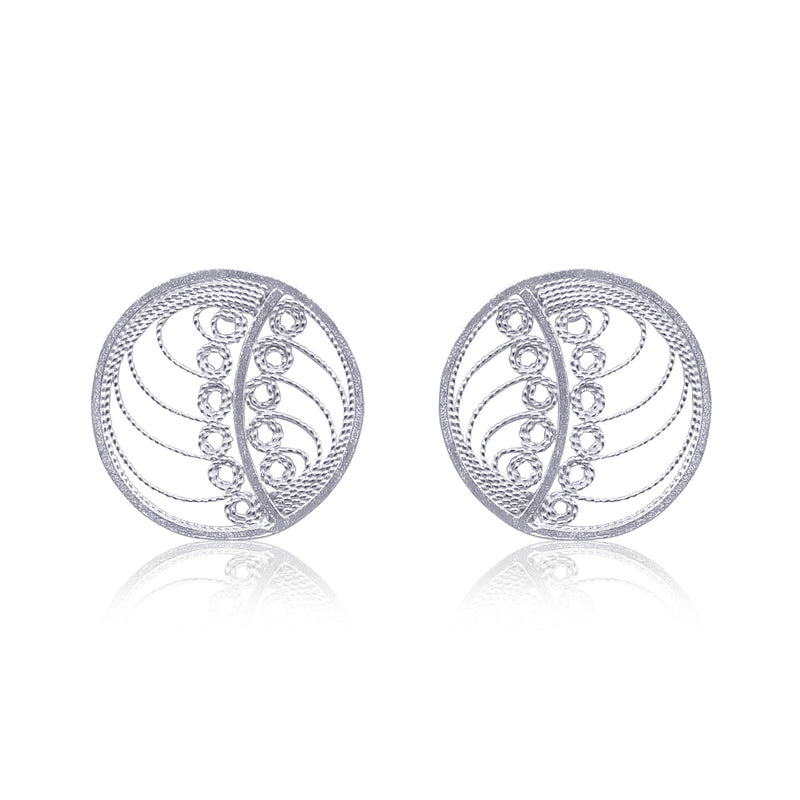 MARGO STUD EARRINGS FILIGREE SILVER GOLD - Olmox