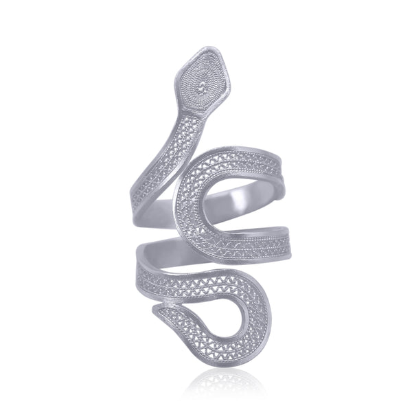 snake ring handmade silver filigree jewelry made in usa houston san francisco chicago olmox liliana olmos