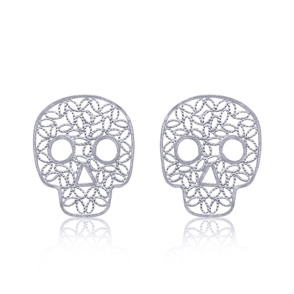 Skull earrings stud earrings silver handmade coco movie skull earrings sterling silver filigree by olmox