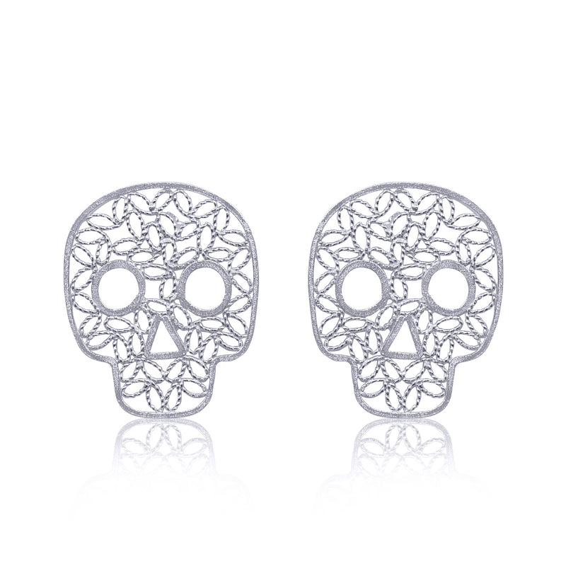 COCO SKULL STUD EARRINGS FILIGREE SILVER & GOLD - Olmox