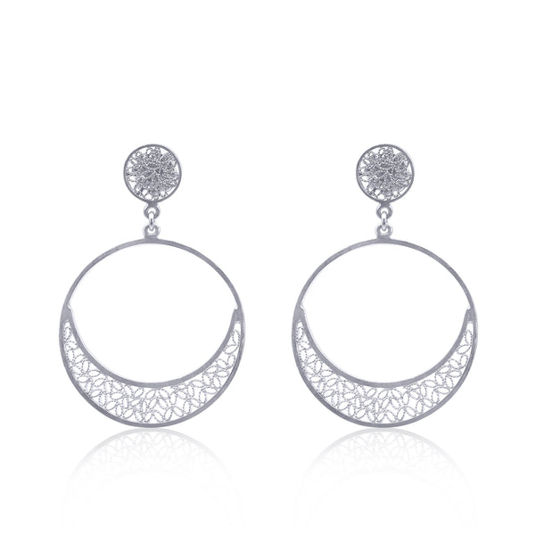 SUZANNE MEDIUM EARRINGS FILIGREE SILVER GOLD - Olmox