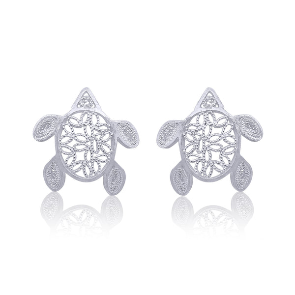 TURTLES STUD EARRINGS FILIGREE SILVER & GOLD - Olmox
