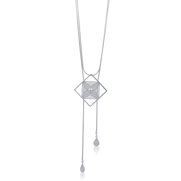 VANESSA NECKLACE LONG SILVER - Olmox