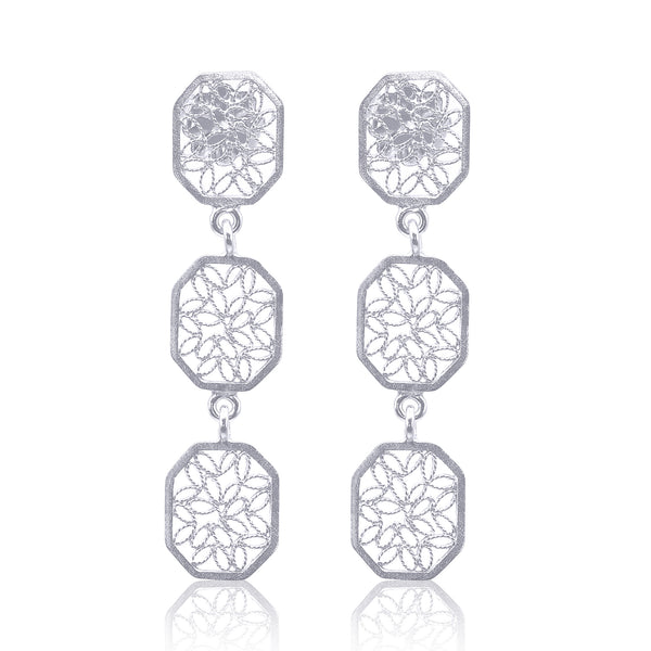 WILLIAM MEDIUM EARRINGS FILIGREE SILVER & GOLD - Olmox