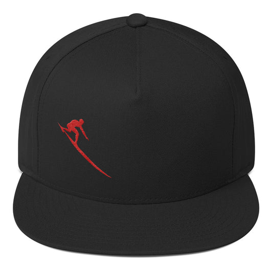 Red Charger Flat Bill Cap - Black