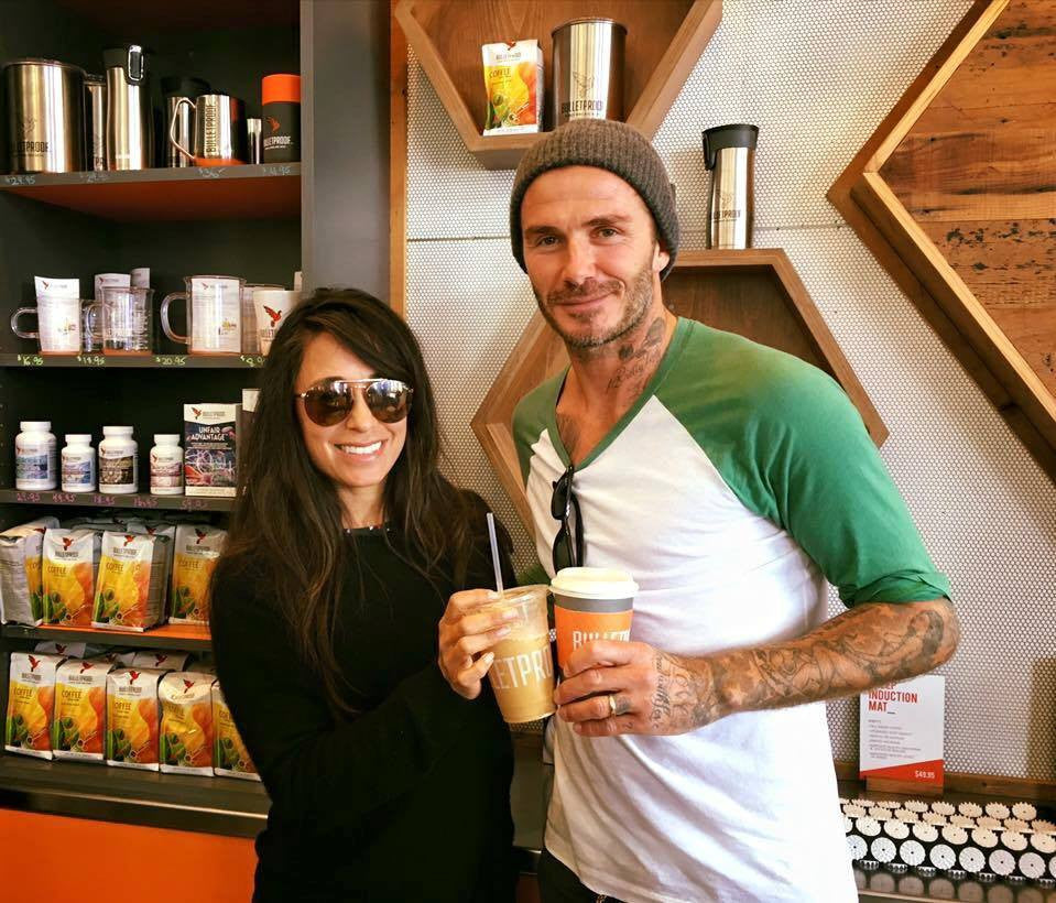 david Beckham and bulletproof coffee in CA santa-monica