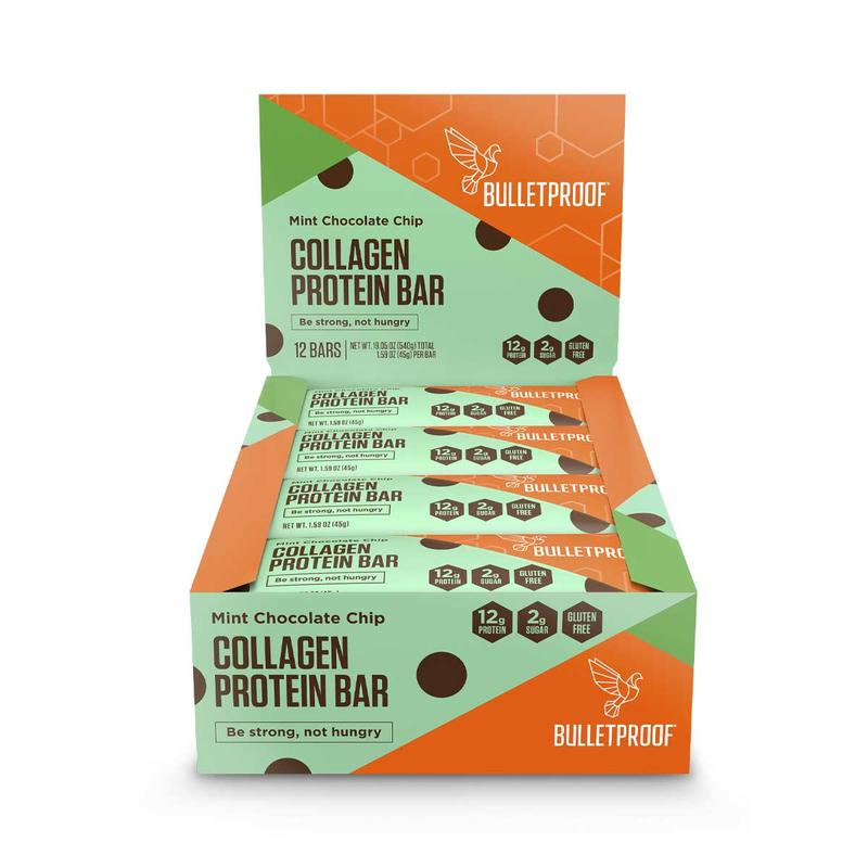 Mint chocolate chip collagen protein bar (12 bars)