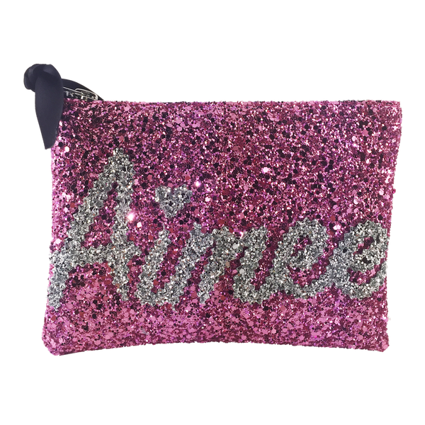 SMALL GLITTER NAME CLUTCH