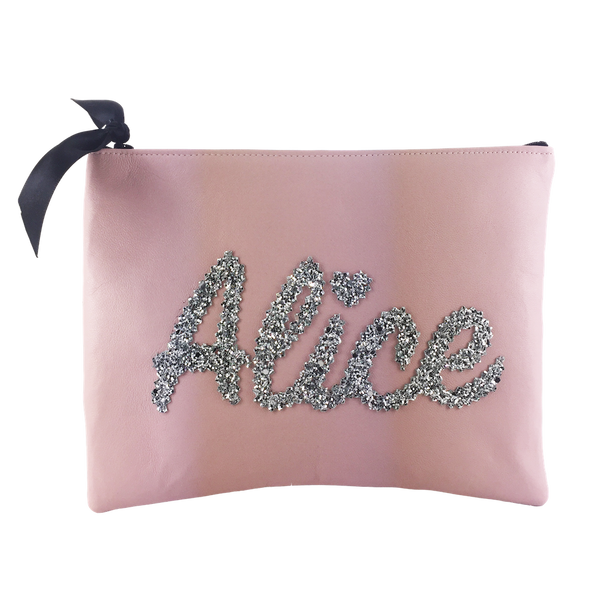 MEDIUM LEATHER NAME CLUTCH