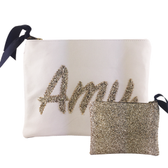 MEDIUM LEATHER & GLITTER NAME CLUTCH