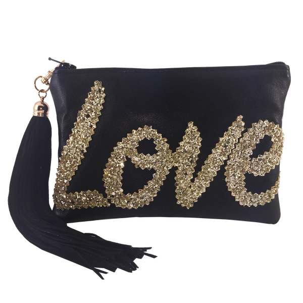 METALLIC LEATHER LOVE CLUTCH - BLACK