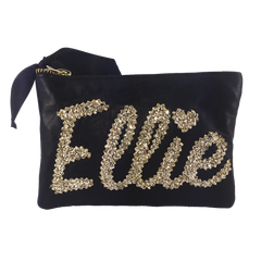 SMALL LEATHER & GLITTER NAME CLUTCH