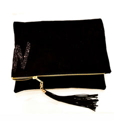 Personalised Suede Tassel Clutch