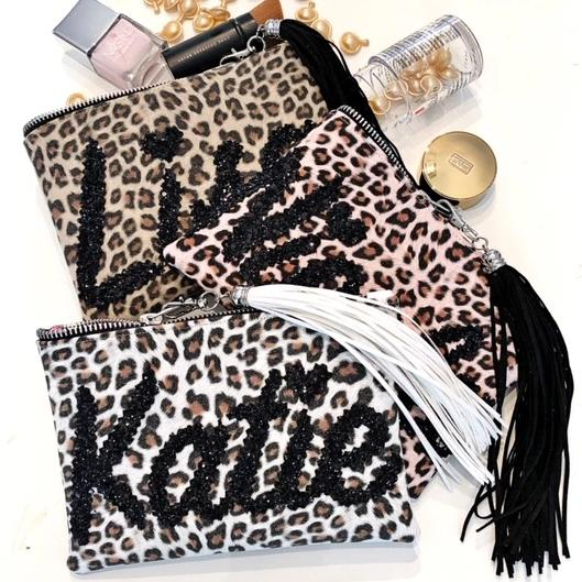 PERSONALISED LEOPARD PRINT NAME PURSE