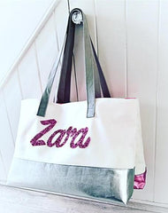 BEACH CANVAS / LEATHER PERSONALISED TOTE