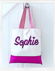 Canvas / Leather Personalised Shopper (large)