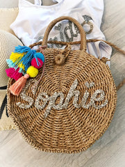 LARGE STRAW PERSONALISED BAG