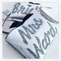 "PERSONALISED LEATHER WITH GLITTER BACK ""MRS"" CLUTCH from £39.00"