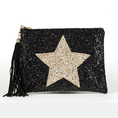 PERSONALISED GLITTER STAR CLUTCH