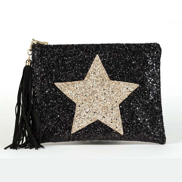 GLITTER STAR CLUTCH - BLACK & GOLD