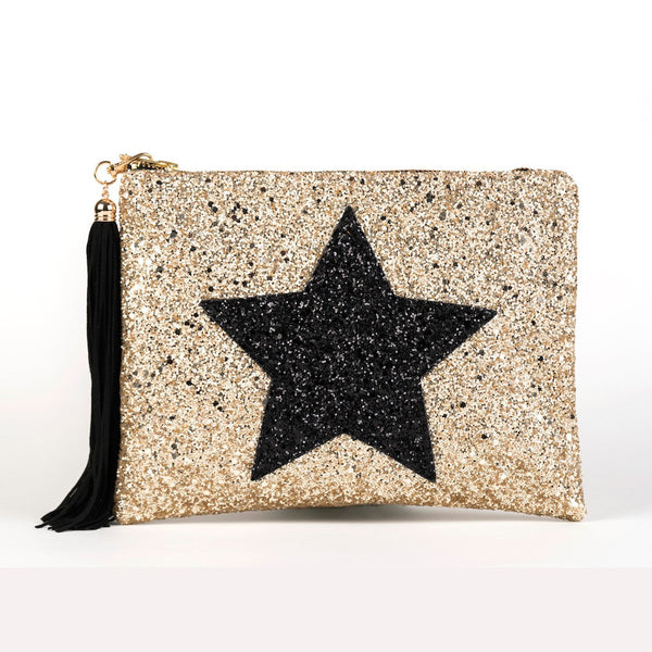 GLITTER STAR CLUTCH - GOLD & BLACK