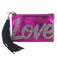 METALLIC LEATHER LOVE CLUTCH - PINK