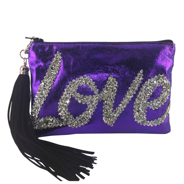 METALLIC LEATHER LOVE CLUTCH - PURPLE