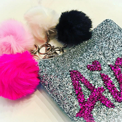 LARGE LEATHER & GLITTER NAME CLUTCH
