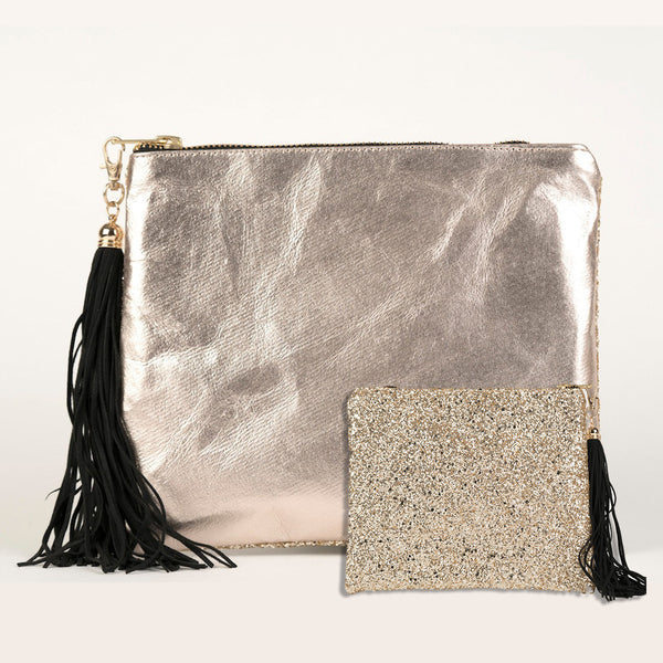 MEDIUM PERSONALISED LEATHER & GLITTER CLUTCH