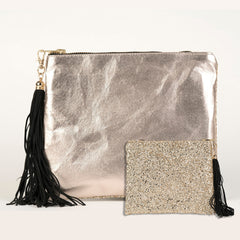 SPARKLE METALLIC CLUTCH - CHAMPAGNE