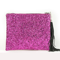 LARGE  PERSONALISED LEATHER & GLITTER CLUTCH