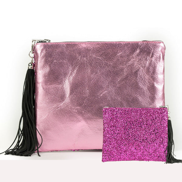SPARKLE METALLIC CLUTCH - PINK